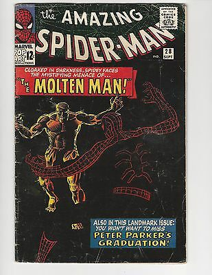 THE AMAZING SPIDER-MAN #28 VOL. 1, 1965, SILVER AGE, GD+ 2.5, 1st APP THE MOLTEN