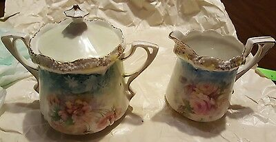 R. S. Prussia Sugar and Creamer Set - With Beautiful Flowers