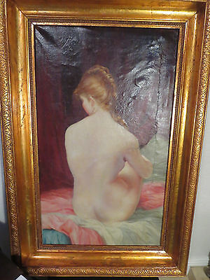 Large Antique Wood  Frame Signed French  Nude Woman Portrait Oil Painting