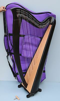 Mikel Saffron Lever Harp 34 Strings Black with Delux Carry Bag VAT Free Delivery