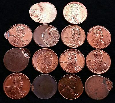 Lot Of 14 Lincoln Wheat Cent Off Center Broadstruck Mint Error Coins