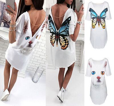 Womens Summer Casual Shirt Dress Ladies Short Sleeve Loose Party Tops Mini Dress