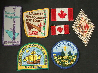 Scouts Canada Lot of 7 Flag, National HQs, and other patches     FX #10