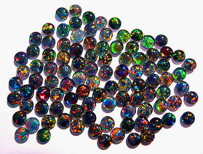 100 Gem Grade Australian Opal Triplets, 4mm rounds, Brilliant multicolours