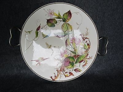Antique Art Nouveau French Ceramic Majolica Porcelain & Metal Tray w/ 2 Handles