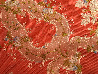 100%Silk Lampas Basilica Crimson Red French Court Lace BTY