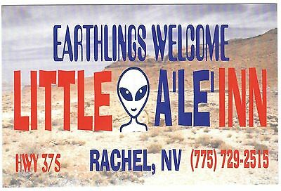 Earthlings Welcome Postcard Little A Le Inn Rachel Nevada Nr Area 51 Alien Face