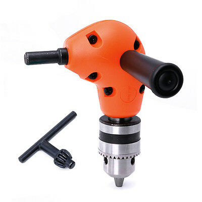 "3/8"" Grip Right Angle Drill Attachment 90 Degree Handle Key Chuck Adapter Orange"