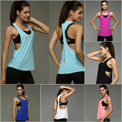 New Womens Yoga Gym Sports Tops Shirts Tank Active Stretch Workout Vest  US