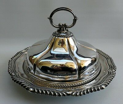 Vtg Art Nouveau 1920s Silver Plated Muffin Dish Tureen Food Warmer Dish & Lid