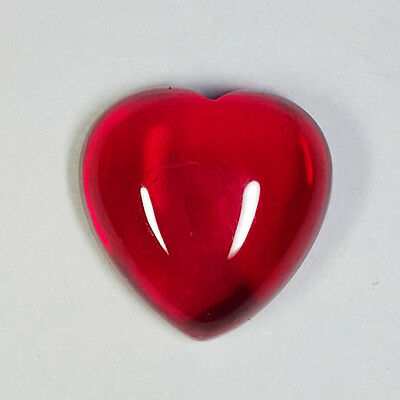 STUNNING 15.15 Ct CABOCHON HEART SHAPE BLOOD RED RUBY CAB (LAB CREATED)