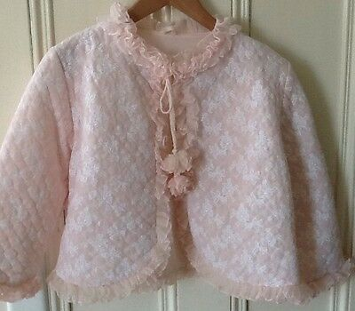 VINTAGE 50's 60's DOUBLE LAYER BED JACKET BABY PINK UK 12/14 PIN UP BURLESQUE