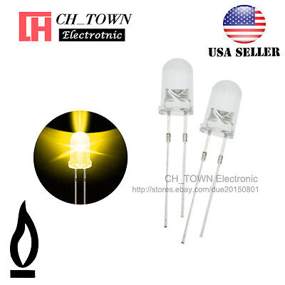 50pcs 5mm Water Clear Yellow Light Candle Flicker Flicking Blink LED Diodes USA