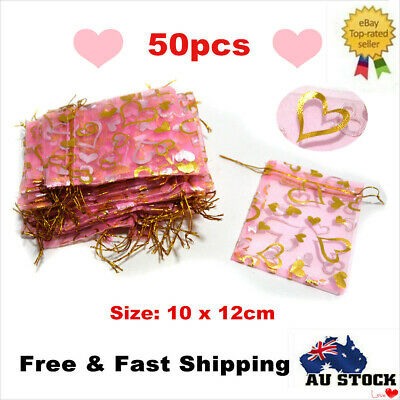 50pcs Pink Organza Bag Sheer Bags Jewellery Wedding Candy Packaging Beads Gift