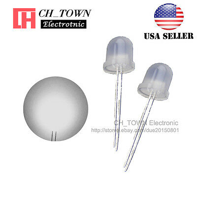50pcs 10mm Diffused White Color White Light Round Top LED Emitting Diodes USA
