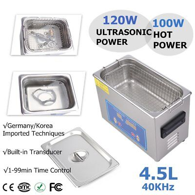 New 4.5L Ultrasonic Cleaner Stainless Steel Industry Heated Heater w/Timer USA B