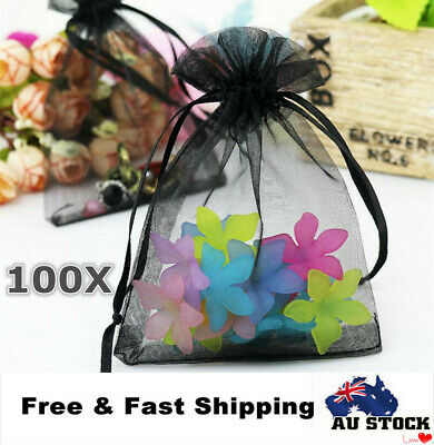 100Pcs Wedding Gift Organza Bags Sheer BagsParty Favour Candy Pouch 7x 9cm Black