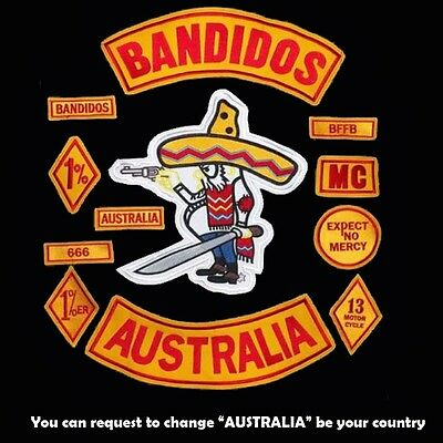 Embroidery Patches Bandidos MC for Vest or Jacket Motorcycle Club Free Shipping