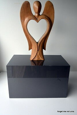 glossy grey cremation urn funeral laminated box w/ hand carved angel heart