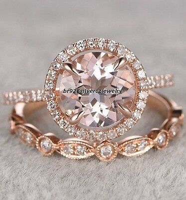 1.50 Ct Morganite & Diamond 14K Rose Gold Engagement Wedding Bridal Ring Set