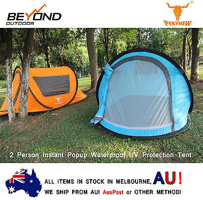 2 Person Pop-Up Tent Waterproof UV Protection Instant Set-Up D-Door