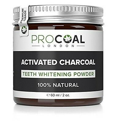PROCOAL Activated Charcoal Teeth Whitening Powder 60ml New