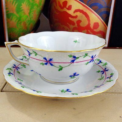 Herend China Teacup & Saucer Tea Cup Blue Garland Hand Painted Porcelain