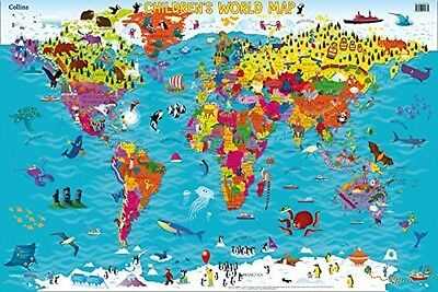 Collins Childrens World Map Illustrated Picture Poster Kids Atlas 0008114732 NEW