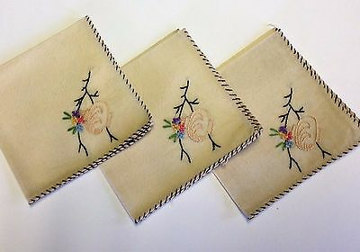 Set of 3 Napkins Hand Stitched Crewel Embroidery Chinese Japanese Lantern Multi