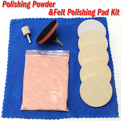 10Pcs 100g Cerium Oxide Windscreen Scratch Remover + 3'' Pad Glass Polishing Kit