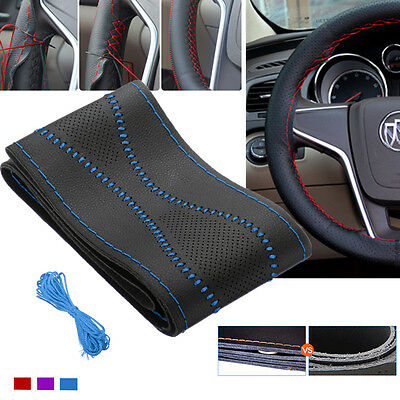 DIY Car Auto Leather Black Steering Wheel Cover Soft Glove Comfortable Universal