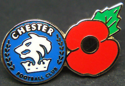 CHESTER CITY FC Poppy & Club crest type badge Stud fitting In chrome 24mm x 13mm