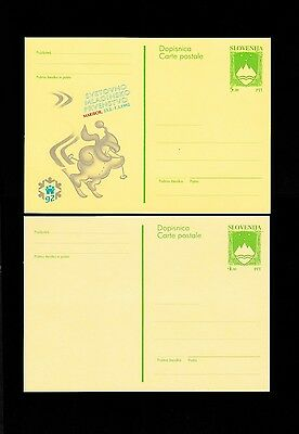 Slovenia 1992 two Mint Post card.See scan.(N).Lot 44.