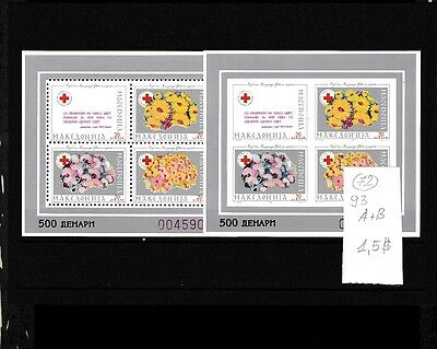 Macedonia 1993 MNH two s/sh Performed+Imperformed Red Cross Silver.(N).Lot 72.