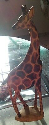 "Giraffe Figurine Wood Carved 12 1/2"" hand made collectible sculpture"