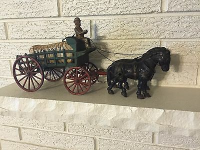 Antique Cast Iron Dray wagon with Hay Load Horse Team Driver