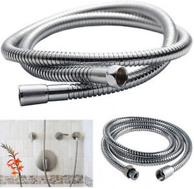 1.5m Chrome Flexible Bathroom Bath Shower Head Hose Pipe Washers Stainless Steel