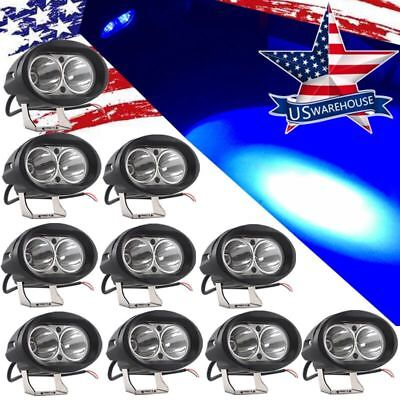 10pc Blue Forklift LED light Warehouse Safety Warning Lamp Spot offroad 12 24 US