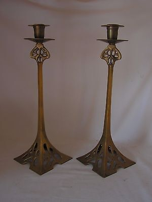 A Pair Of Wmf Inspired Art Nouveau Brass Candlesticks