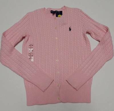 Polo Ralph Lauren Cardigan Sweater Large 12 14 Pink Blue Pony Logo Spring NWT