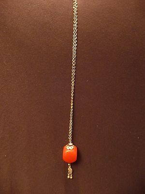 Yemen Necklace of Metal & Faux Cherry Amber Cube Bead (20+ years) Jewelry