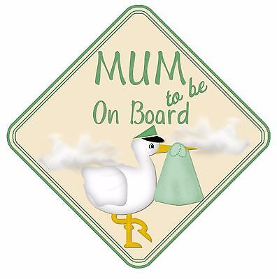 Mum To Be On Board Car Sign Non Personalised Green Baby Boy/girl Maternity