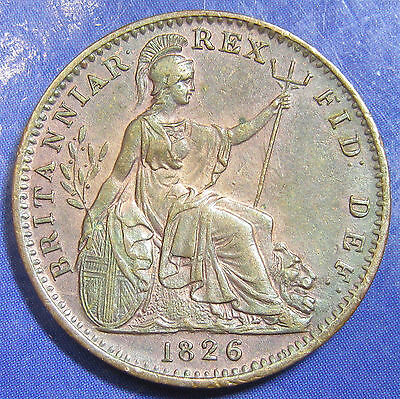 1826 ¼d George IV Scarce First Head copper Farthing in a lovely grade