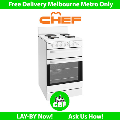 Chef CFE535WA 54cm 540mm Upright Electric Cooker Stove Oven Hob Separate Grill