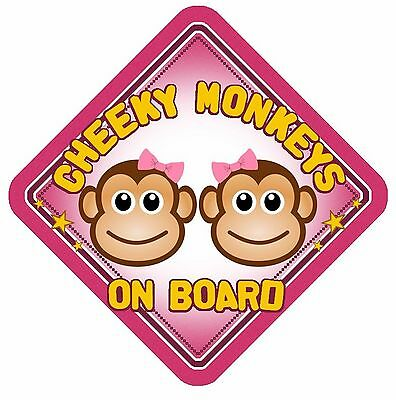 Cheeky Monkeys On Board Car Window Sign Non Personalised Pink Girls Sisters