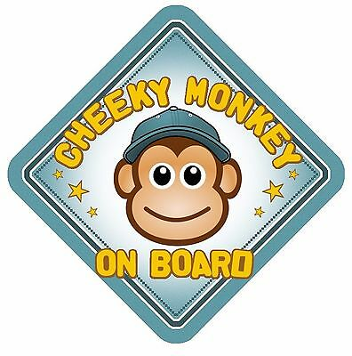 Cheeky Monkey On Board Car Window Sign Non Personalised Blue Boy