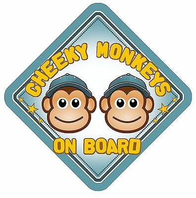 Cheeky Monkeys On Board Car Window Sign Non Personalised Blue Boys Brothers
