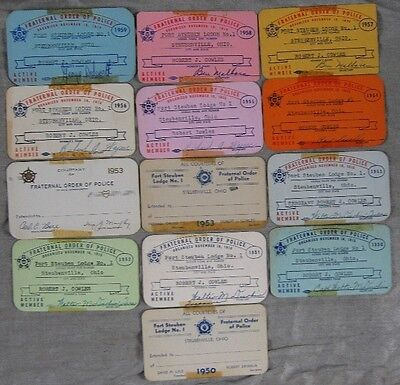 Lot of 13 1950's Fraternal Order of Police Card Robert Cowles Steubenville