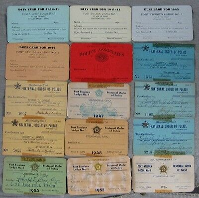 Lot of 15 1940's Fraternal Order of Police Card Robert Cowles Steubenville