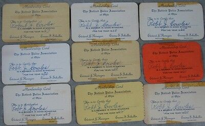 Lot of 9 1960's Retired Police Association Card Robert Cowles Steubenville